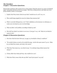grade english the outsiders chapter review questions the outsiders chapter 7 discussion questions chapter 8