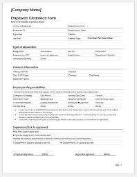 Form For Employee Employee Clearance Form Templates Ms Word Word Excel