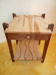 hand made black walnut  maple end table w drawer by jeremy