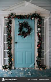 Wreath With Blue Lights Winter Wreath Hanging Door House Decorated Christmas Pine