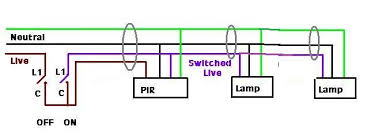 wiring diagram for standalone pir to multiple security lights pir and two lamps jpg