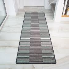 details about duck egg blue washable non slip mats mottled striped long hallway runner mat new