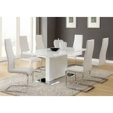 7ft dining table: coaster company white and chrome dining table