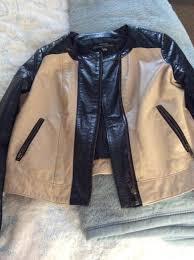 black cream leather jacket with grandpa collar 1