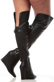 black faux leather pointed toe thigh high wedge boots cicihot boots catalog women s winter boots leather thigh high boots black platform knee high boots