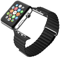 leather loop band magnetic clasp strap apple watch 42 44mm black