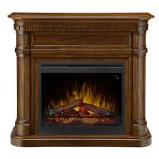 freestanding electric mantel in burnished walnut