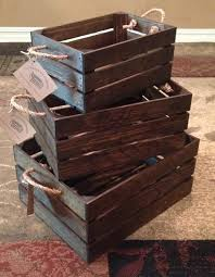 Stacking Boxes Decorative 100 Piece Set of Nesting Wood Crates With Rope Handles 84