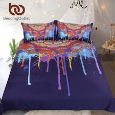 bedding bohemian bedding set queen watercolor boho quilt cover colorful printed bed set purple mandala bedclothes