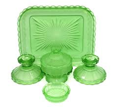 vintage green depression glass dressing table set