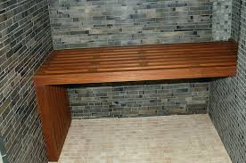 dashing wooden bench closed interesting dark wall front small tile wall of ceramics plus interesting tile unique wood diy shower