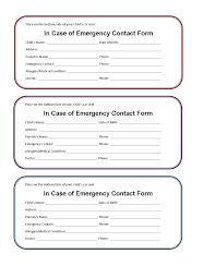 Emergency Card Template Printable Emergency Card Template Form Contact Receipt Cleaning