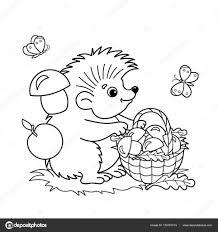 Kleurplaat Pagina Overzicht Van Cartoon Egel Met Mandje Van