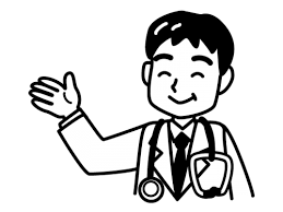 男性医師の白黒イラスト02 かわいい無料の白黒イラスト モノぽっと