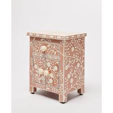 Lohko Rose <b>Pink Floral</b> Inlay Bedside Cabinet | Oliver Bonas
