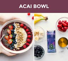 two side by side photos on the left is an overhead shot of an acai