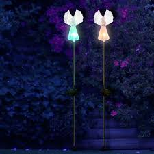 solar fairy angel lights color changing garden decor outdoor lawn with decoration solar yard figurine stakes