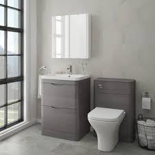 monza modern stone grey sink vanity unit toilet package victorian plumbing uk