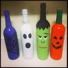 Painted Wine Bottles for Halloween