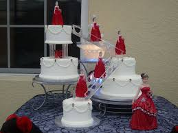 Red And White Quinceanera Cake Pearls Red Rosettes Stairs Formal