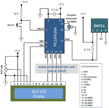 humidity wiring diagram measurement of temperature and relative humidity using dht11 circuit connections for pic16f628a and dht11 sensor