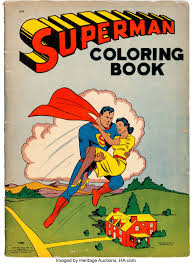 One deluxe shaped superman coloring book with foil cover and 30 stickers and one classic superman coloring book. Superman Coloring Book 1508 Saalfield 1941 Condition Lot 14837 Heritage Auctions
