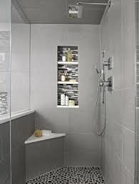 spruce up a shower with a bench and niche interesting use of colored tile in ample shower lighting