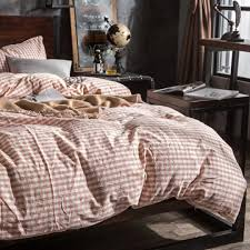 100 cotton stone washed bed linen plaid bedding set bed sets duvet cover bed sheet set from china