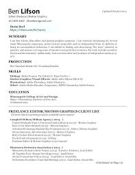 Motion Graphics Cover Letter Graphic Resume Examples Best Cover