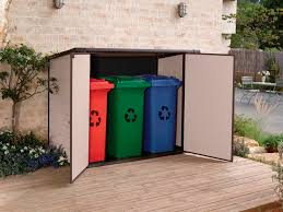 plastic outdoor storage solutions are available for most residential situations bike more bins beige brown black