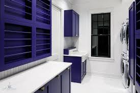 purple laundry room with purple cabinets