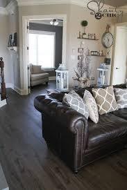 dark brown leather sofa decorating