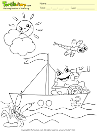 Frog Boat Spring Coloring Page Kids Crafts Coloring