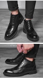 genuine leather men boots winter ankle boots fashion footwear lace up brogue dress shoes vintage mens
