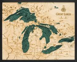 Great Lakes Navigation Charts Great Lakes 3 D Nautical Wood Chart 24 5 X 31