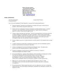 Background Investigator Resume Cover Letter Elegant Detective Sample Resumes