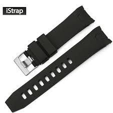 iStrap <b>22mm Black Rubber</b> Watch Band Curved end Watch Strap ...