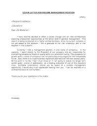 Cover Letter Design Management Sample Cover Letter For A Manager