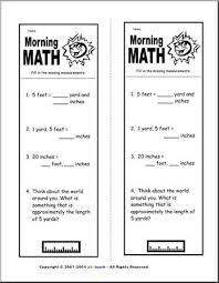 Measurement Conversions 5 Morning Math Abcteach