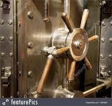 Safety And Security: Front Of Bank Vault Massive Door Handle ...