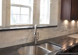 black granite white marble backsplash tile