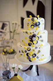 grey and yellow wedding cakes. by polka dot bride grey and yellow wedding cakes