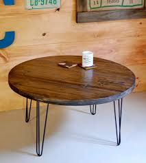 brown industrial round reclaimed wood coffee table with hairpin legs intended for round coffee table with hairpin legs