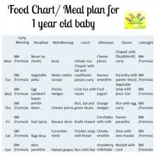 44 Cogent 1 Year Old Baby Diet Chart Indian