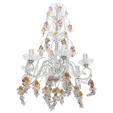 six light chandelier with crystal beads and glass gs for