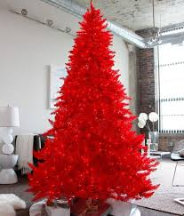 We're starting the list with a gorgeous prelit red Christmas tree. We even  applaud the photography of the tree. The rest of the background is kept  muted so ...