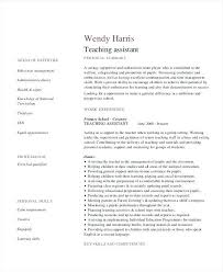 Teacher Assistant Resume Skills Example For Free Primary School