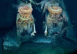 real underwater titanic pictures. Two Of Titanicâ\u20ac™s Engines Lie Exposed In A Gaping Cross Section The Stern. Draped â\u20acœrusticlesâ\u20ac â\u20ac\u201dorange Stalactites Created By Iron-eating Real Underwater Titanic Pictures I