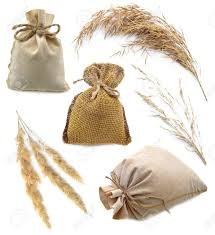 Small burlap bags Large Group Of Small Funny Burlap Bags With Grain And Cereals Isolated On White Stock Photo Totebagfactory Group Of Small Funny Burlap Bags With Grain And Cereals Isolated