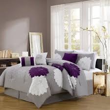Purple, Gray And White Embroidered Floral Bedding Set   Purple Bedroom Ideas